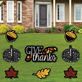 product image for Big Dot of Happiness Give Thanks - Yard Sign and Outdoor Lawn Decorations - Thanksgiving Yard Signs - Set of 8