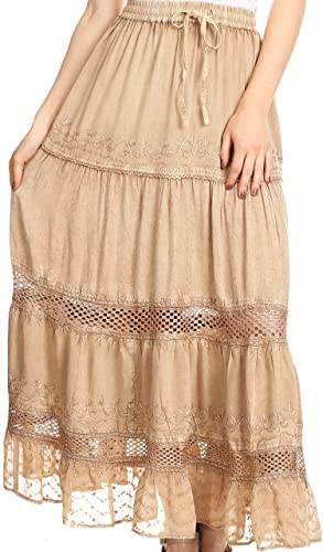 Sakkas Salina Boho Maxi Skirt With Embroidery and Crochet Lace Adjustable Waist