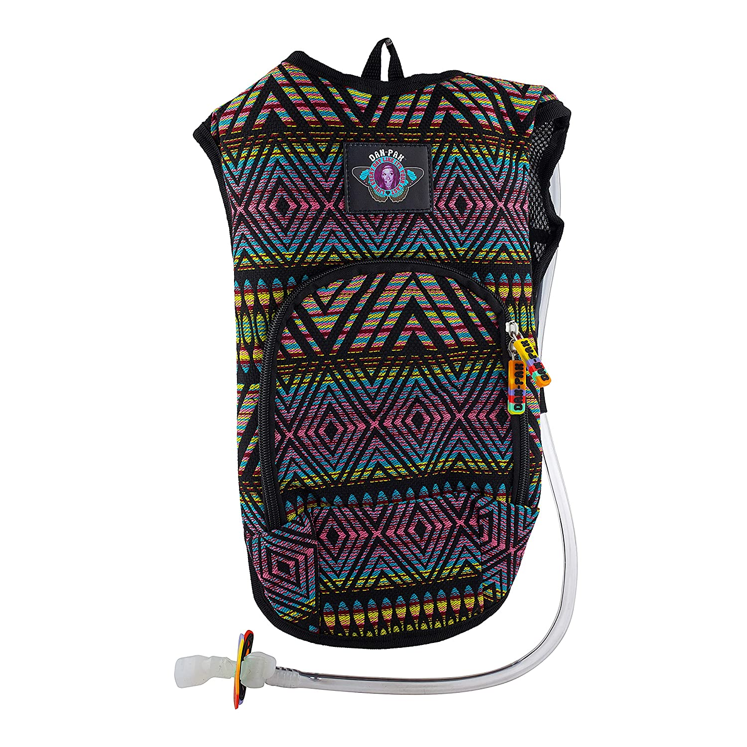 Dan-Pak Rave Hydration Pack 2l- Neon Tribe -Black and Rainbow Woven Tribal Design – Perfect for Music Festivals and Camping