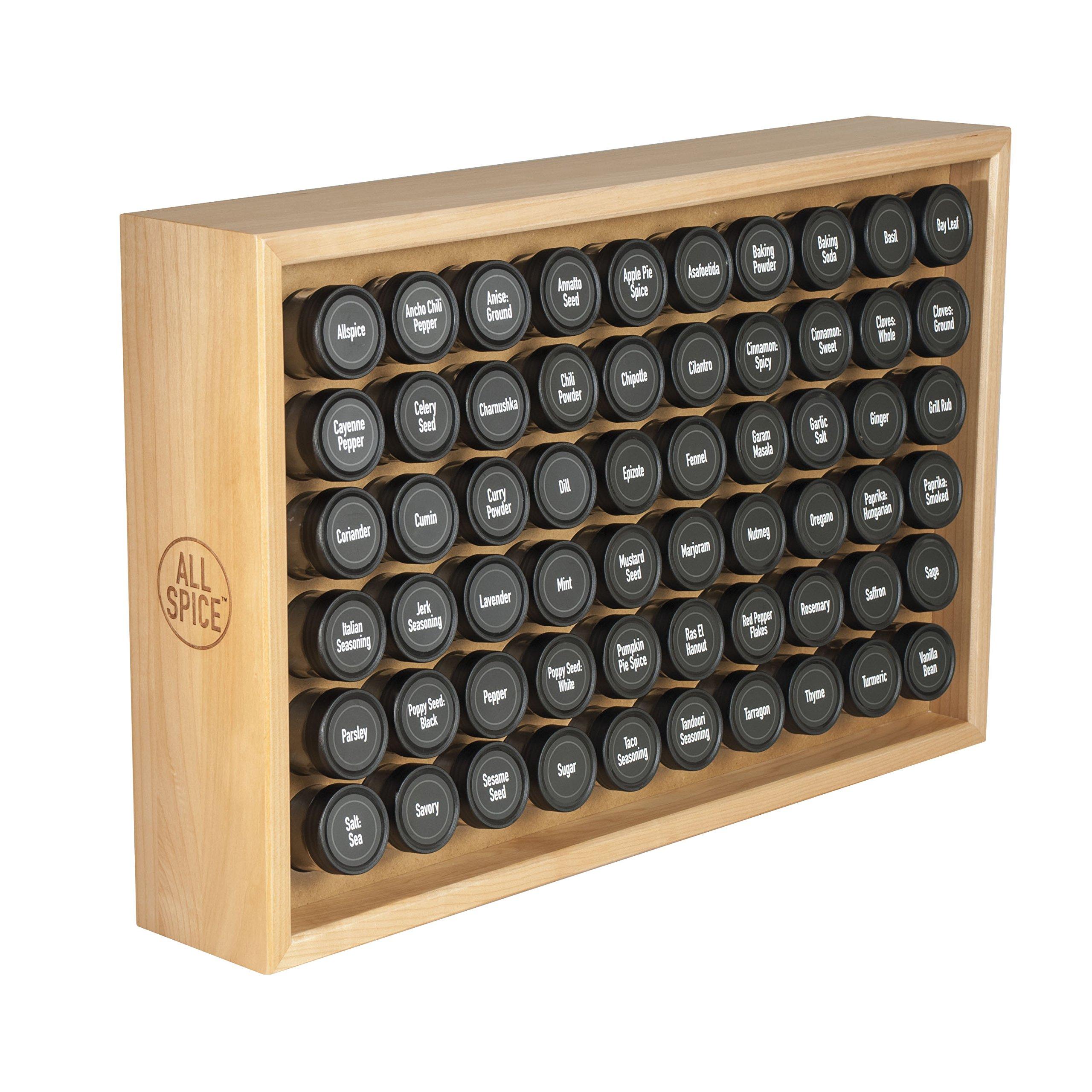 AllSpice Wooden Spice Rack, Includes 60 4oz Jars- Maple