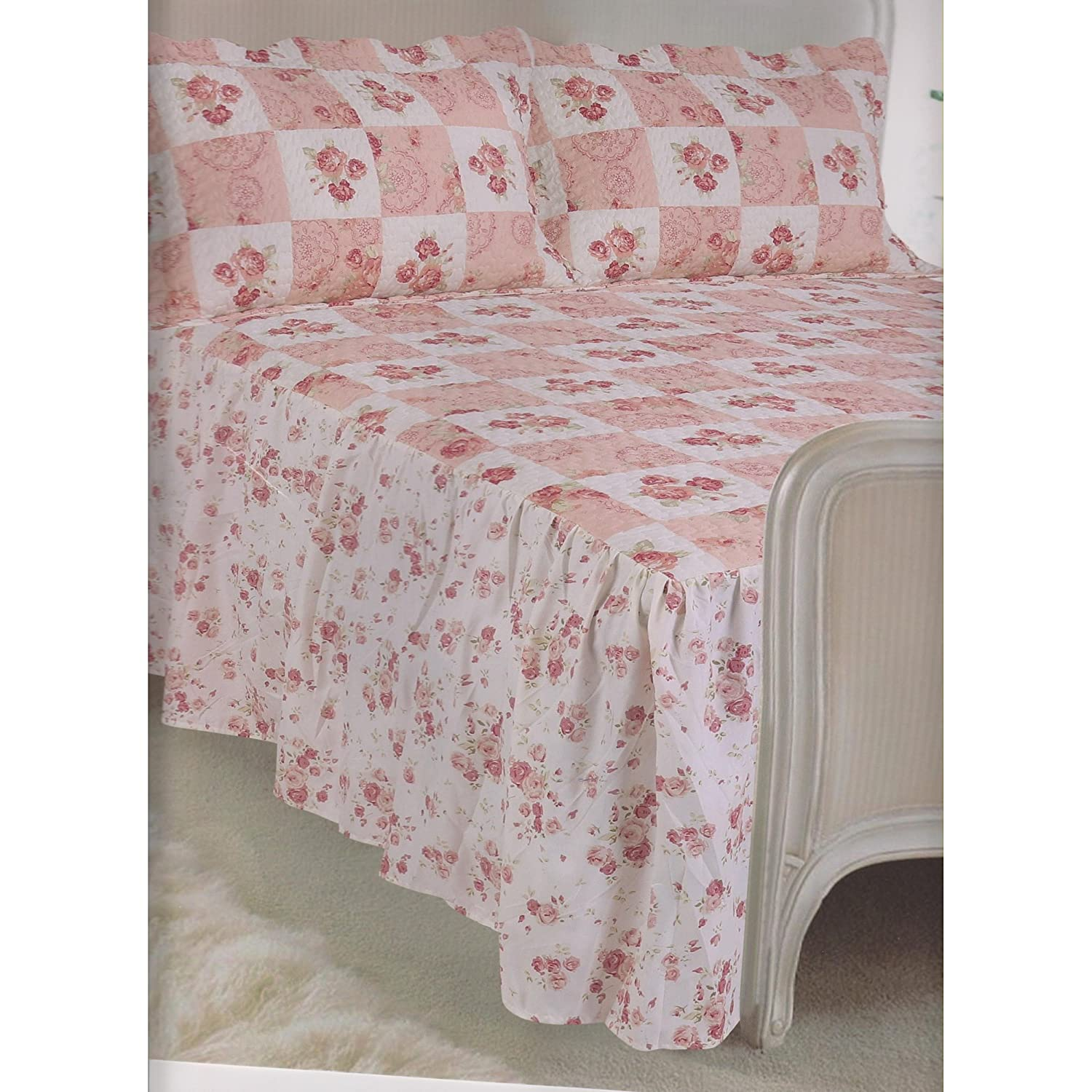 Traditional Vintage Quilted Fitted Bedspread Set Single Size Bedspread & 1 Pillowsham Frilled Colorado Home Harmony