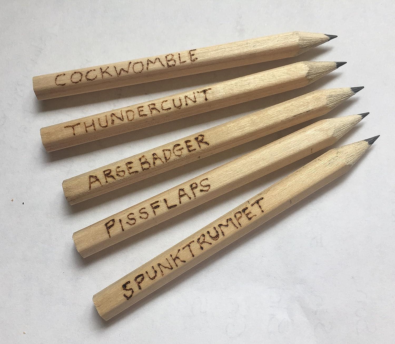 Lenguaje soez lápices aka offencils. Manuscritos. Pack de 5. Mini/tamaño de golf. Gran regalo. Regalo de Navidad. Personalización disponibles. Gastos de envío gratis: Amazon.es: Oficina y papelería