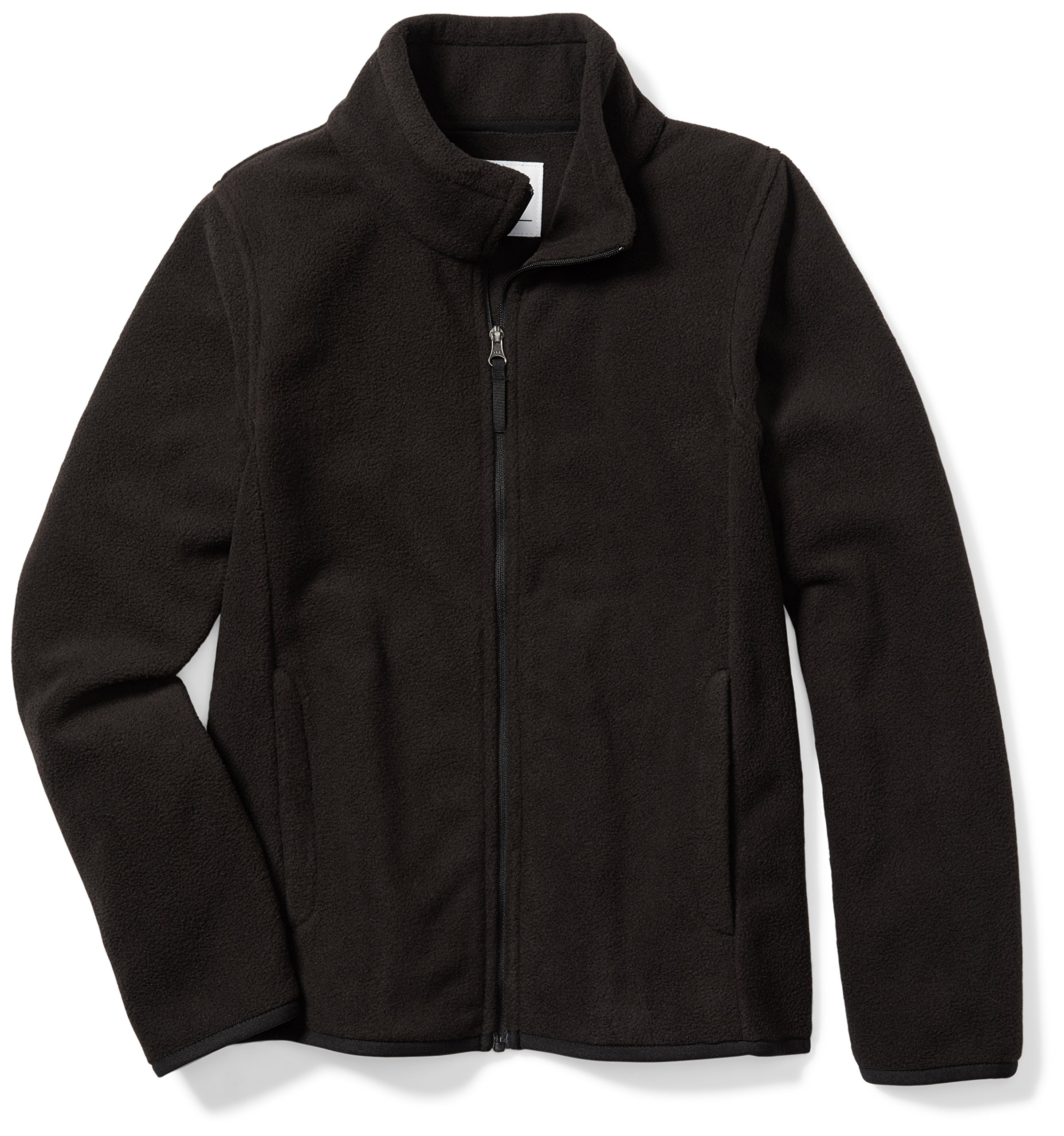 Amazon Essentials Girls' Full-Zip Polar Fleece Jacket, Black, Small