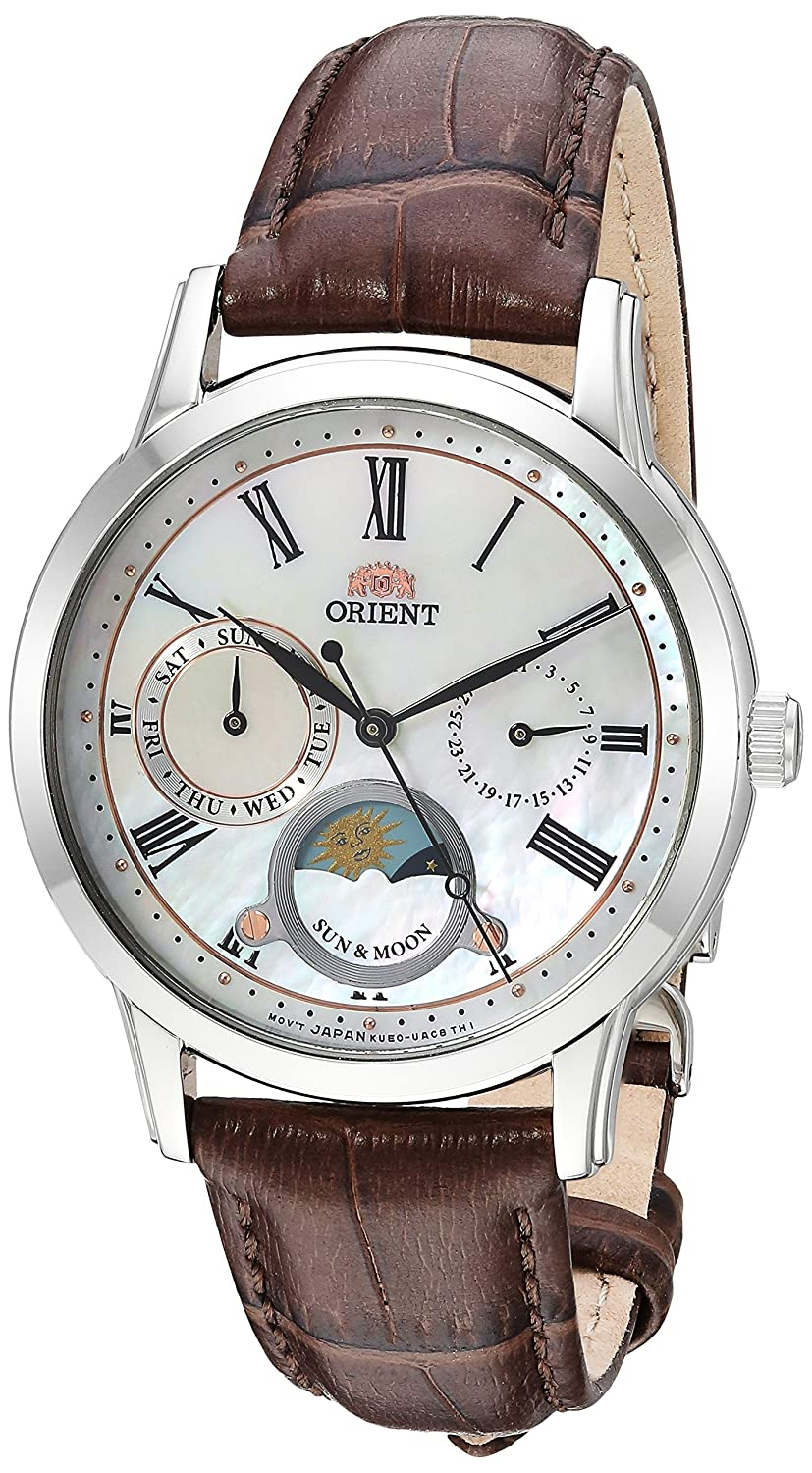 Amazon.com: Orient Mens Sun and Moon Petite Quartz Stainless Steel and Leather Dress Watch, Color:Black (Model: RA-KA0003S10A): Watches