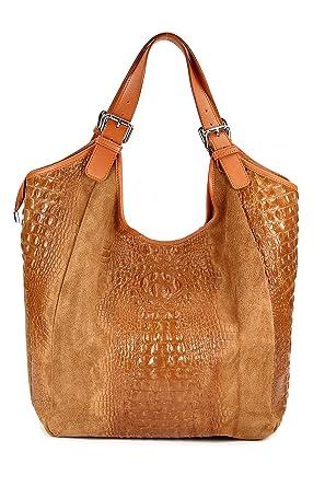 ital. Nappa Leder Handtasche Shopper - freie Farbwahl - 36x30x14 cm (B x H x T) (Schlamm) Belli mOGIweNwU