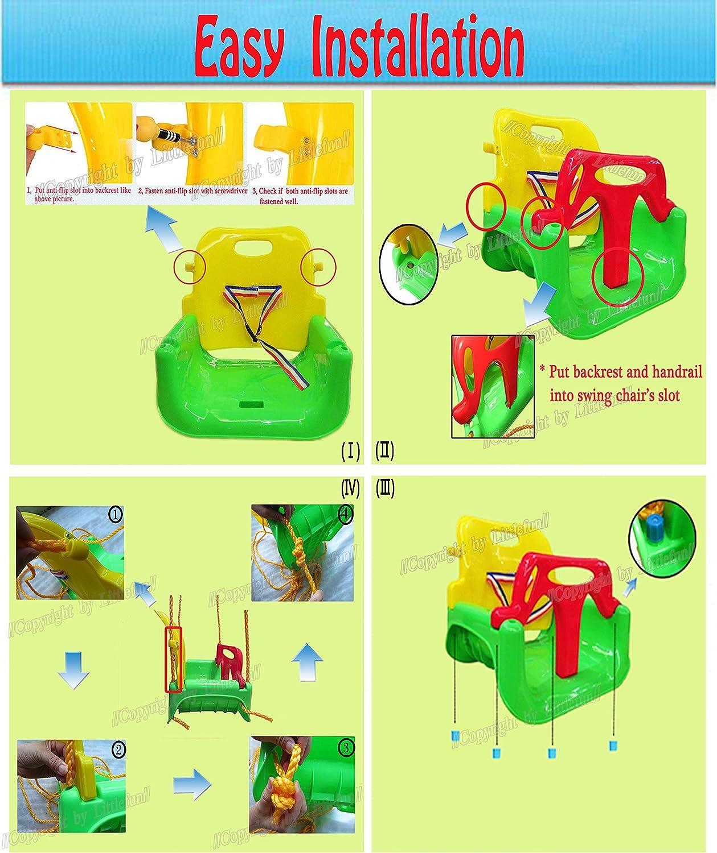 Littlefun 3-in-1 Infant to Toddler Swing Set Upgrade Anti-flip Snug /& Secure Detachable Children Outdoor Play Patio Garden Amusement Park Equipment