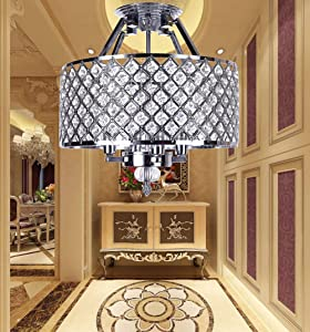 Semi Flush Mount Ceiling Crystal Chandeliers, 4-Light, Diameter 14 Inches(35CM) x High 14 Inches(35CM) , Home Lighting Fixture for Bedroom, Dining Room, Foyer, Bulbs Not Included (Chrome Finish)