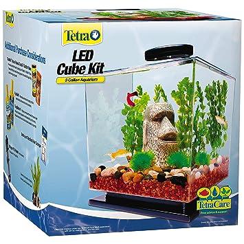 amazon com tetra led cube shaped 3 gallon aquarium with pedestal
