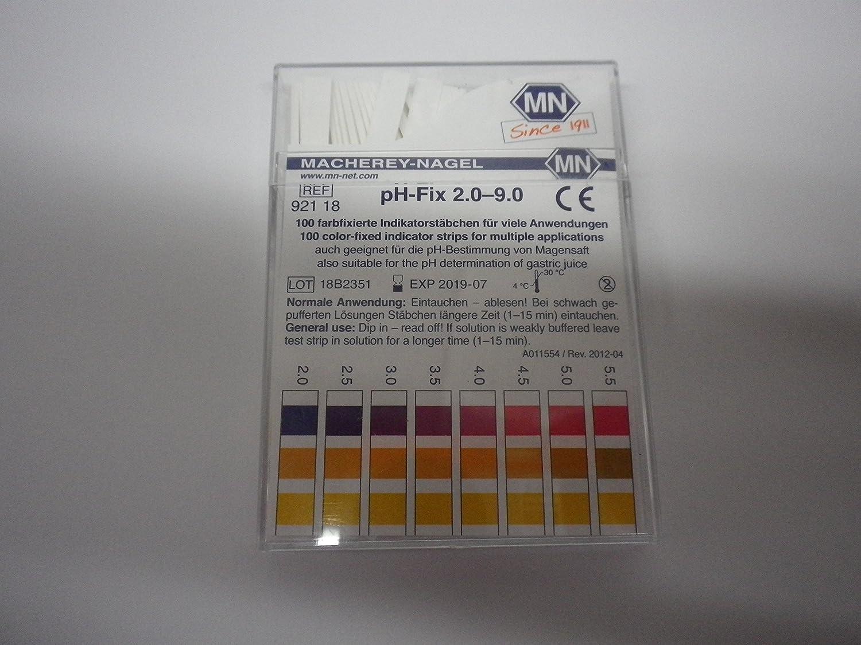 macherey ongles Baguettes Indicateur PH 2,0– 9,0 Papier indicateur 92118, Lot de 100 0-9 0Papier indicateur 92118 SIM Products