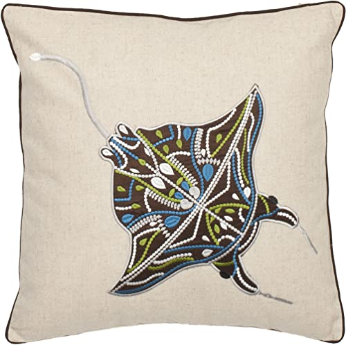 Safavieh Pillow Collection Stingray 18-Inch Cream and Brown Embroidered Decorative Pillows, Set of 2