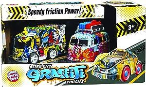 Small World Toys Retro City Graffiti Vehicles Plane & Car - Friction Powered Toy Cars