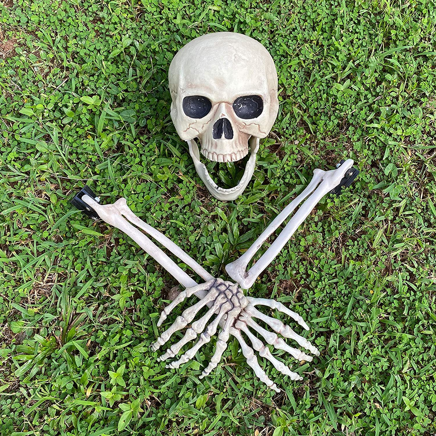 ALLADINBOX Halloween Creepy Graveyard Décor Groundbreaker Realistic Skeleton Bones and Skull(Include Skull, Hands and arms with Lawn Stakes) for Outdoor Party, Life Size