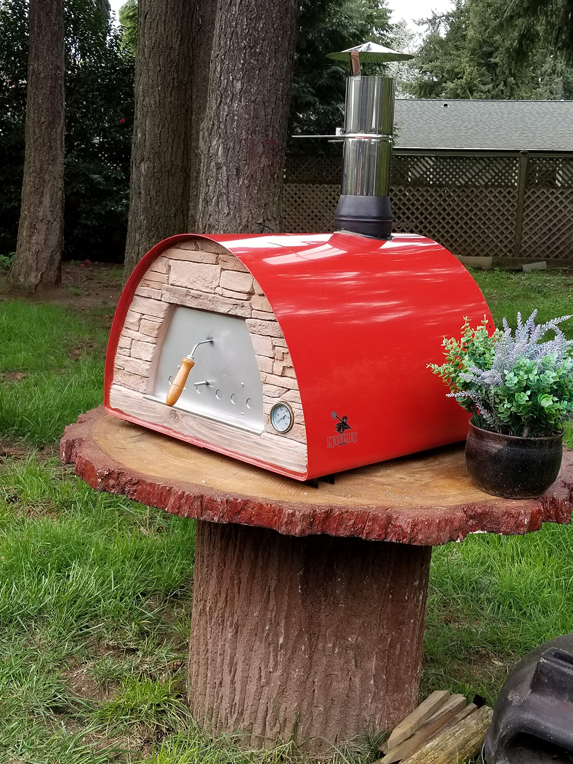 Authentic Pizza Ovens Maximus Red Handmade Wood Fire Oven