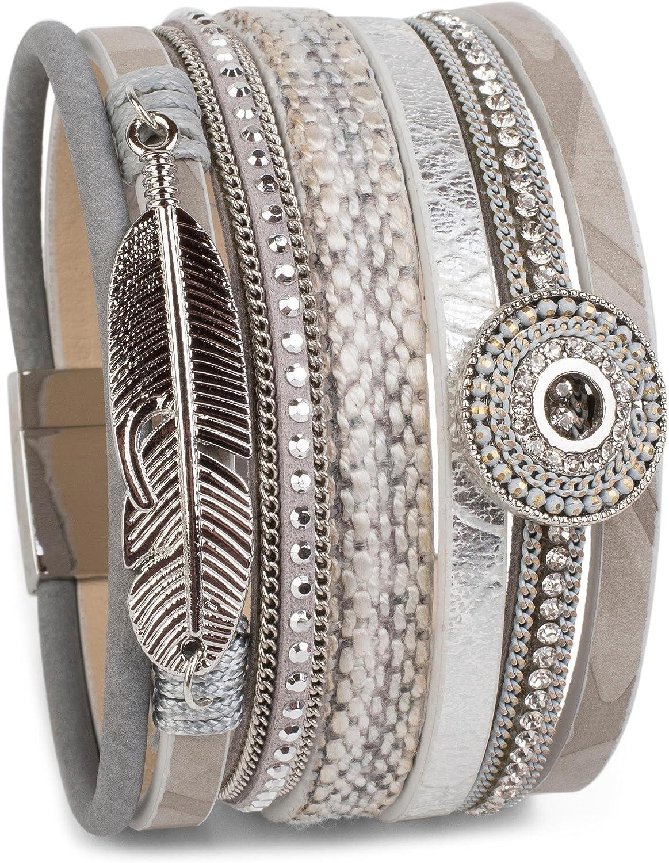 styleBREAKER Pulsera con Amuleto de Estilo étnico, Colgante de Pluma, Piedras de estrás, Tejido, Cierre magnético, señora 05040043
