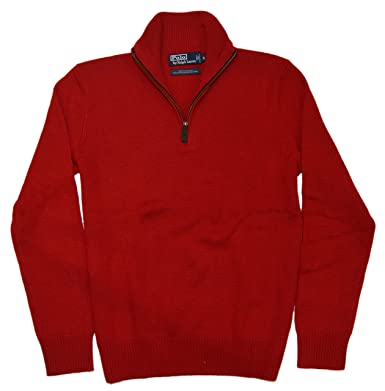 Polo Ralph Lauren Mens Pullover Half-Zip Cashmere Knit Sweater Red ...