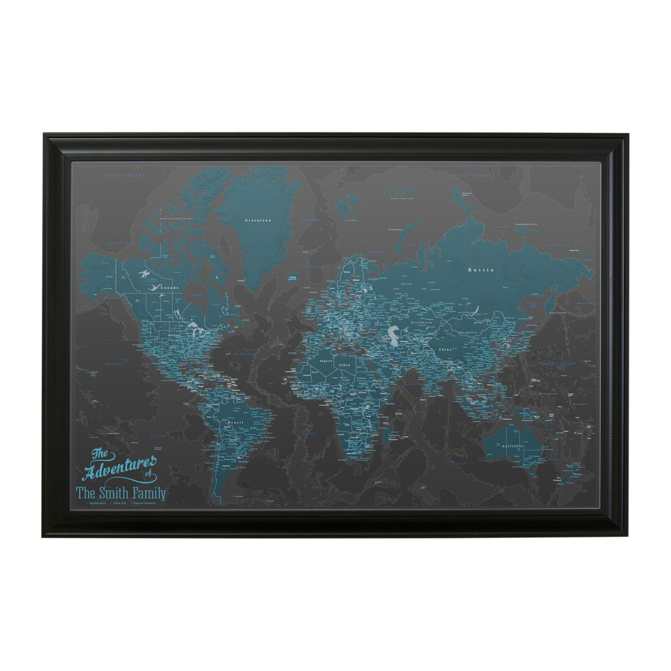 Canvas - Personalized Midnight Dream World Push Pin Travel Map with Black Frame