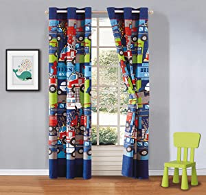 Elegant Home Multicolor Heroes First Responders Police Cars Fire Trucks Ambulances Design Boys / Kids Room Window Curtain Treatment Drapes 2 Piece Set with Grommets (Heros)
