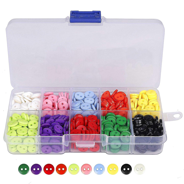 QH-Shop Bottoni 9 mm Cucito Bottoni in Resina 10 Colori Misti con Scatola di Plastica per Il Mestiere di Cucito Scrapbooking e Fai Da Te a Mano Ornamento 750 Pezzi