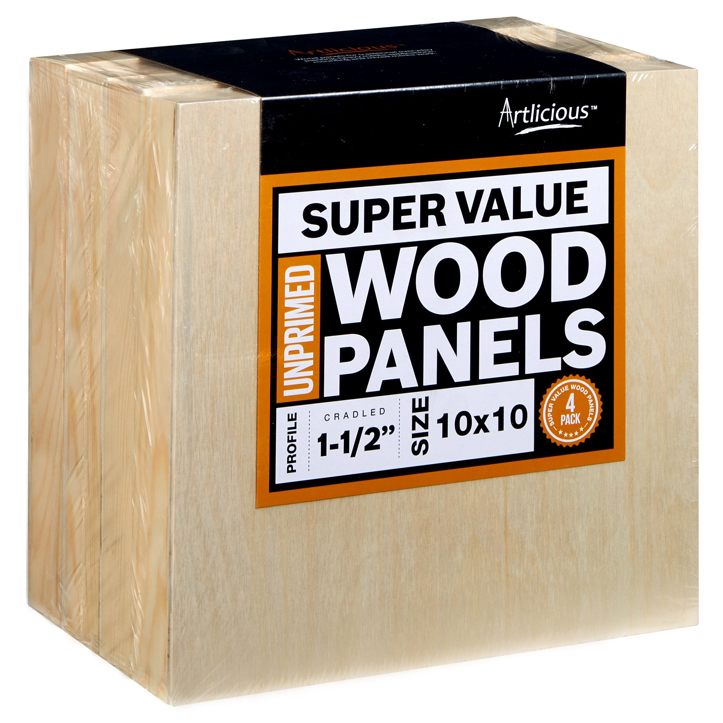 Artlicious - 4 Gallery Profile Super Value Wood Panel Boards - Great Alternative to Canvas Panels, Stretched Canvas & Canvas Rolls (10x10, Gallery Profile)