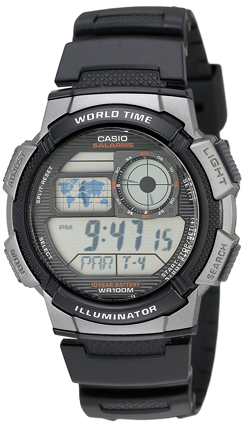 2e9555e21f69d Amazon.com  Casio Men s AE1000W-1BVCF Silver-Tone and Black Digital Sport  Watch with Black Resin Band  Casio  Watches