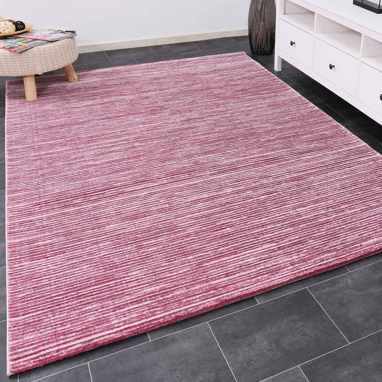 VIMODA Designer Teppich Modern Hoch Tief Effekt mit Glitzer Gestreift in Rosa Pink Weiss Naturfreundlich 120x170 cm
