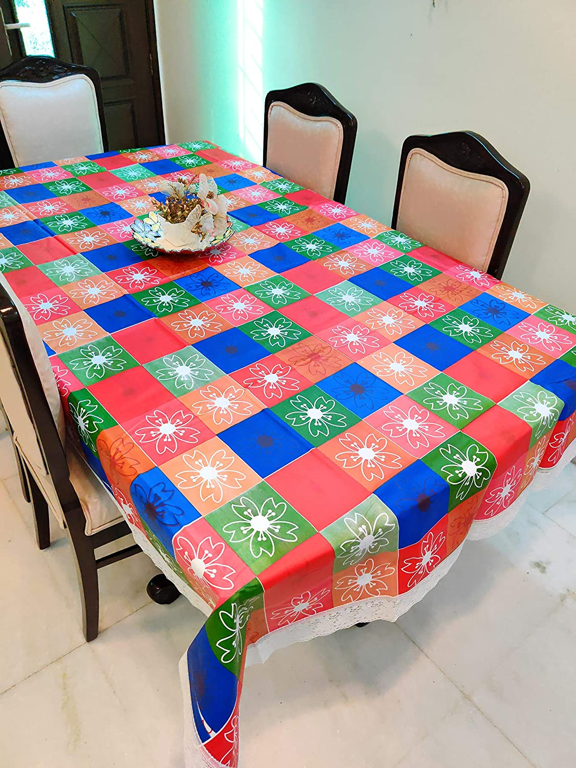 Buy Casa Nest Thick Pvc Printed Dining Table Cover 4 Seater Size 40x60 Inch Waterproof Easy To Clean Blue Multi Color Online At Low Prices In India Amazon In