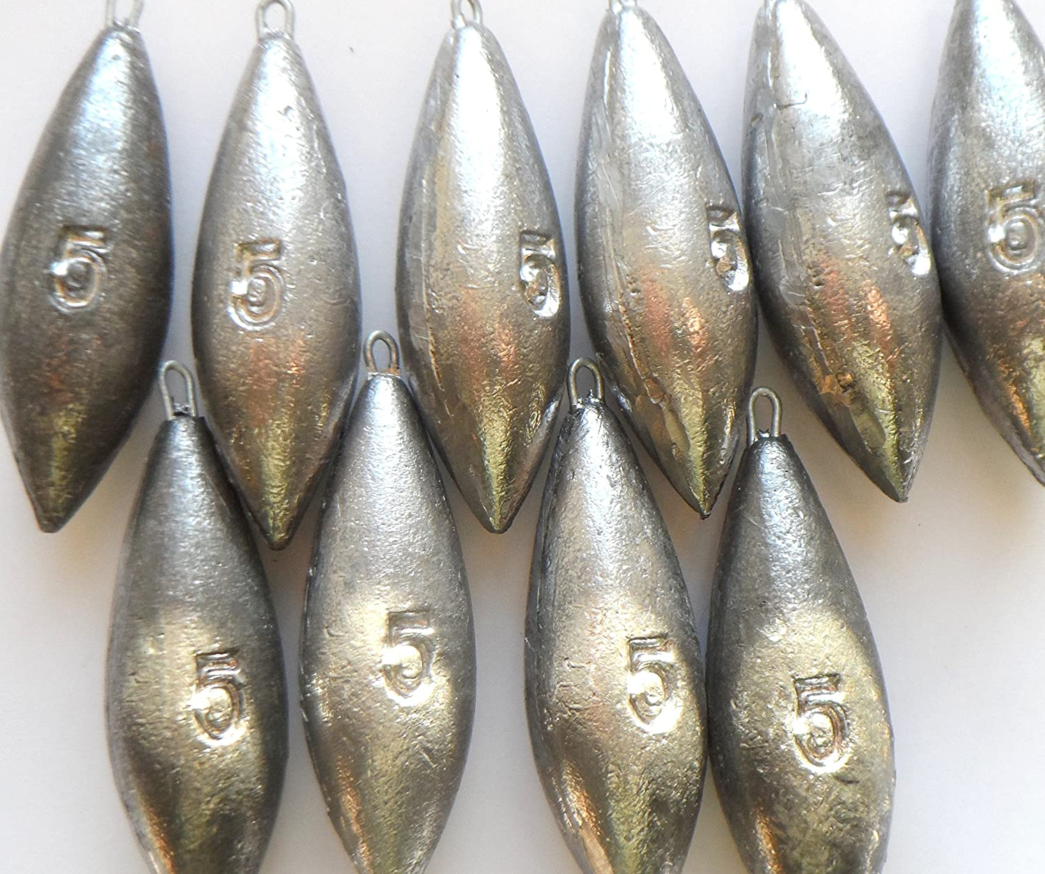 5 x 5oz and 5 x 6oz bomb weights for sea fishing