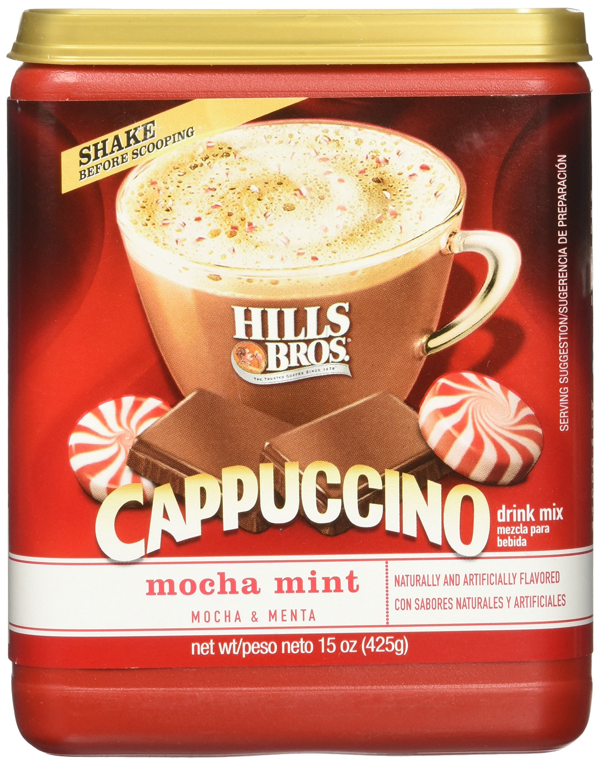 Hills Bros., Cappuccino, Mocha Mint, 15oz Canister (Pack of 2)