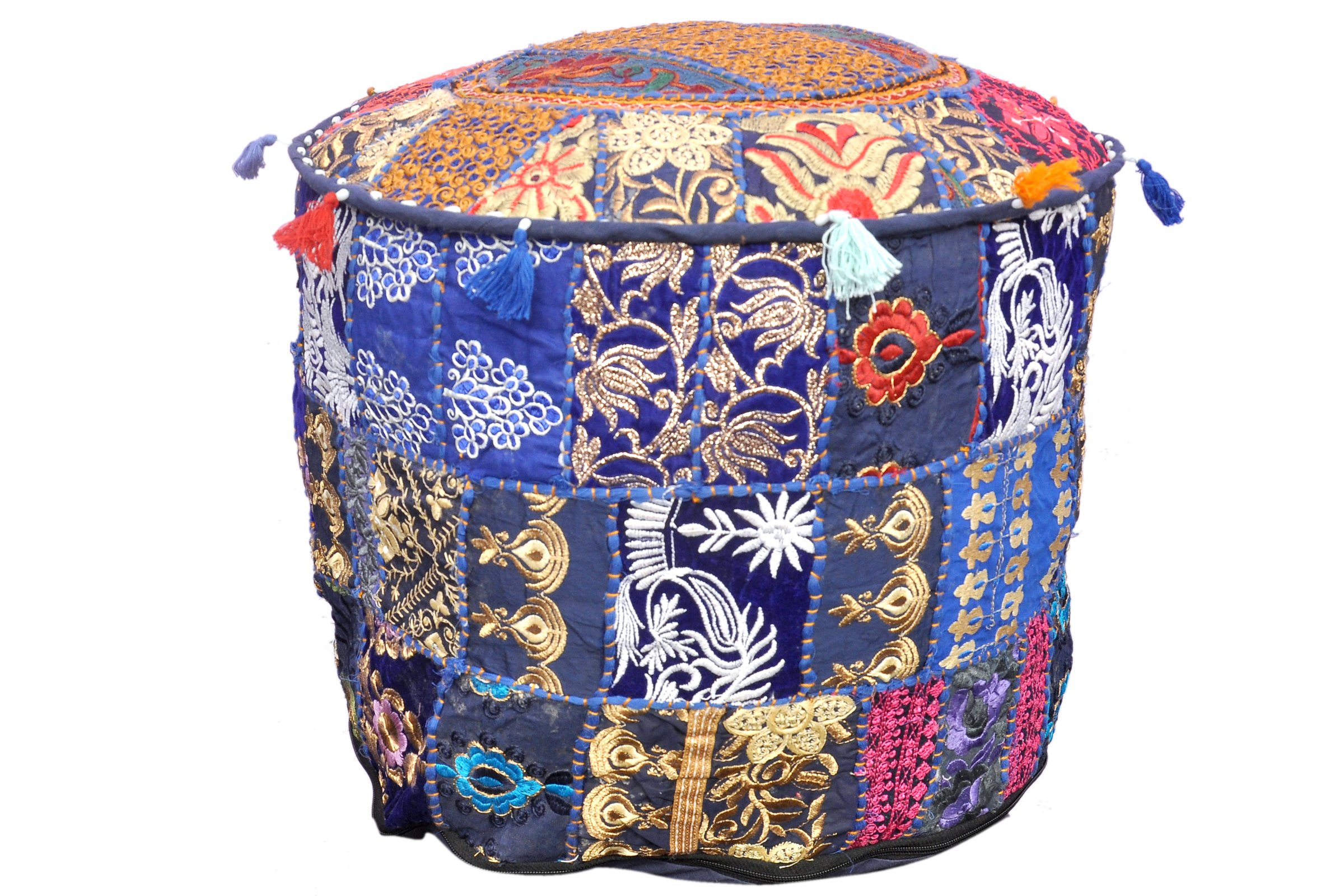 Indian Vintage Patchwork Ottoman Pouf , Indian Living Room Ottoman Pouf Cover, Foot Stool Storage Cover, Round Ottoman Cover Pouf, Floor Pillow Ottoman Poof Cotton Cushion Ottoman Cover
