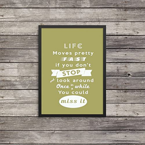 Life Moves Pretty Fast Print | Minimalist Poster | Typography |  Inspirational| Ferris Bueller Quote