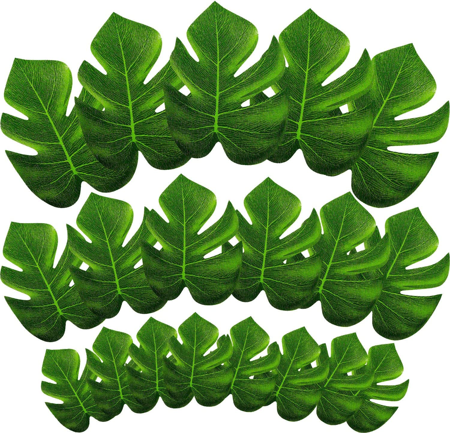 Hestya 60 Pieces Tropical Palm Leaves Artificial Tropical Plant Leaf Imitation Monstera Leaves for Hawaiian Luau Jungle Beach BBQ Party Decor, 3 Sizes
