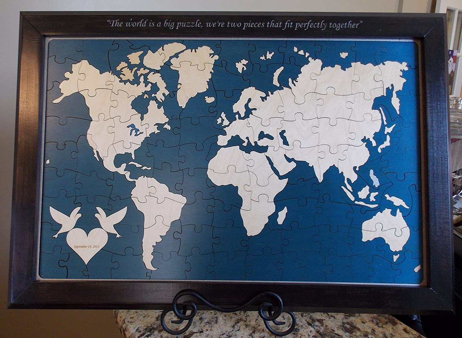 Amazon wedding guest book alternative wood puzzle world map amazon wedding guest book alternative wood puzzle world map office products gumiabroncs Images