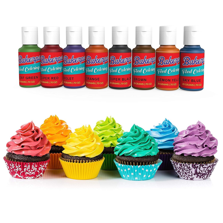 Amazon.com: Bakerpan Food Coloring Squeeze Gel .7 oz Bottles, For ...