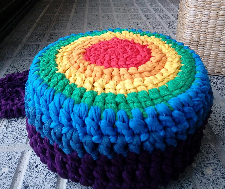 Zafú de meditación pequeño en crochet modelo ARCOIRIS ...