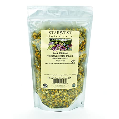 Starwest Botanicals Organic Chamomile Flower Whole Egypt , 4 Ounces