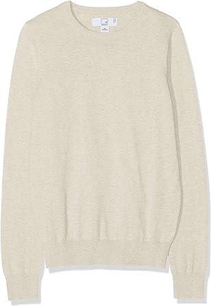 Marca Amazon - MERAKI Jersey de Algodón Mujer Cuello Redondo, Beige (Linen), 38, Label: S: Amazon.es: Ropa y accesorios