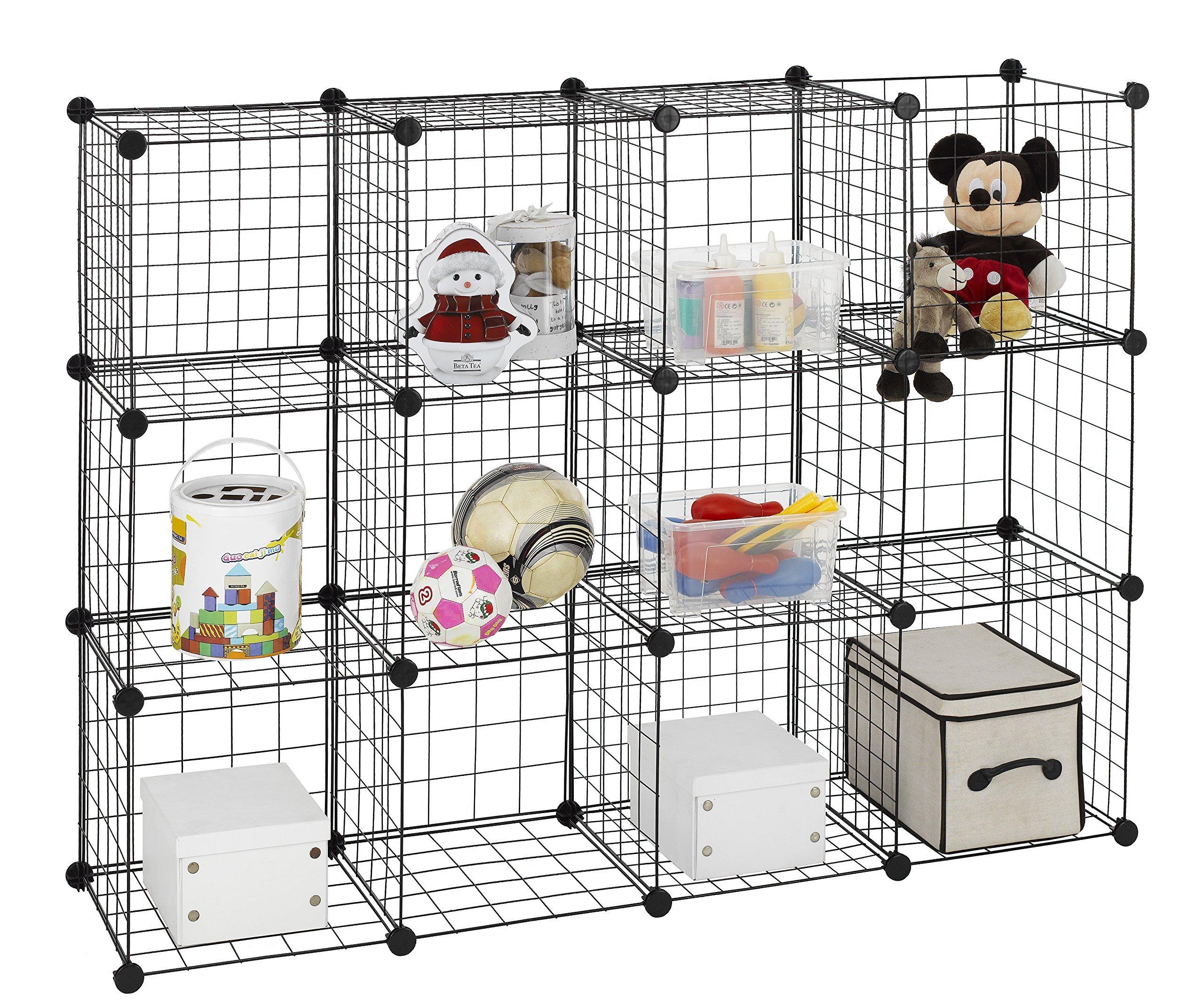 Finnhomy 12 Storage Cubes Multi Use DIY Wire Grid Organizer Closet Organizer Shelf Cabinet Wire Grids Panels Garage Storage Rack Sets Shelving Units for Books/Plants/Toys/Shoes/Clothes Black