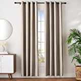 """Amazon Basics Room Darkening Blackout Window Curtains with Grommets - 42"""" x 96"""", Taupe, 2 Panels"""
