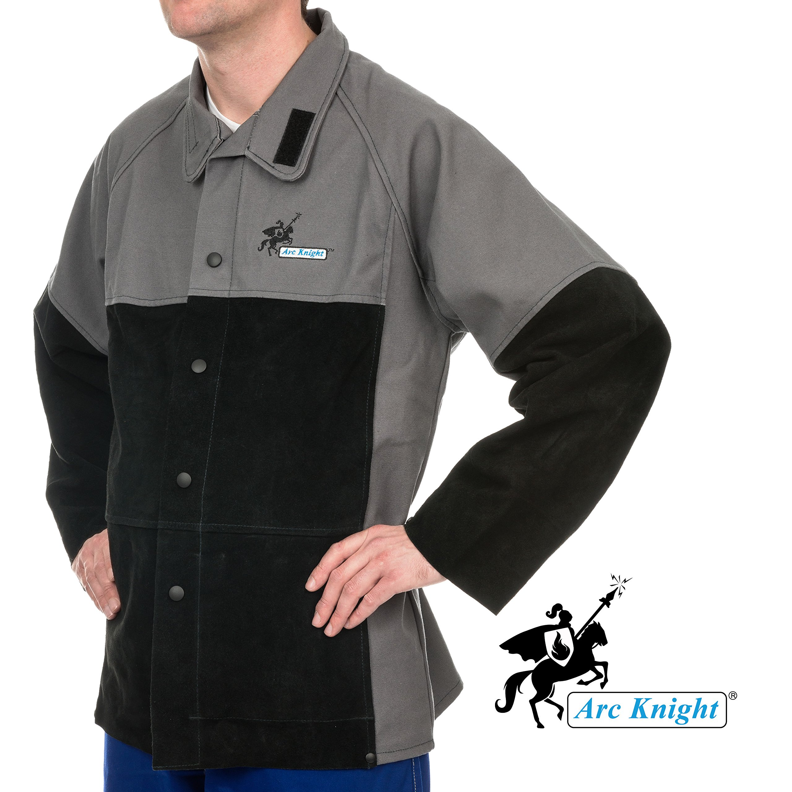 Weldas Arc Knight Versatile Heavy Duty Welding Jacket - Cotton and Leather Sleeves - Grey/Black - Size XXL