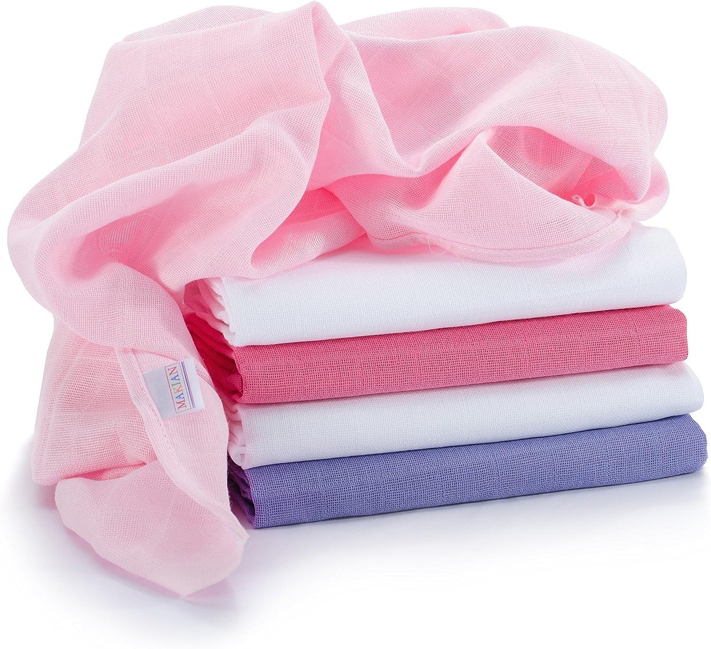 Muselina / Paño / Gasa algodón bebé - 5 Ud., 70x70 cm, rosa ...