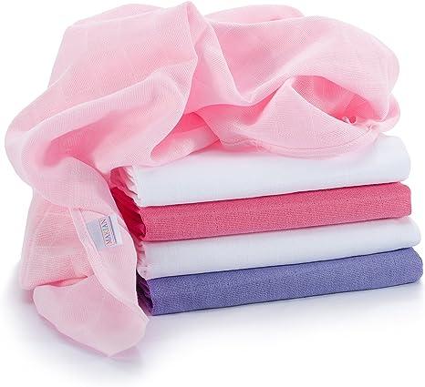 Muselina / Paño / Gasa algodón bebé - 5 Ud., 70x70 cm, rosa, blanco | Tejido doble con bordes reforzados, lavable a 60°, certificado OEKO-TEX Standard 100: Amazon.es: Bebé