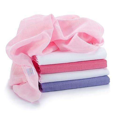 Lange bébé en mousseline de coton   Lot de 5   70 x 70 cm   Qualité supérieure - Couleur rose, double tissage, bordure renforcée, certifié Öko-Tex Standard 100, lavable à 60° C