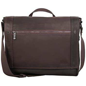 Amazon.com   Kenneth Cole Reaction Colombian Leather Single Compartment  Flapover Messenger Bag, Brown   Messenger Bags 1b896e25bf