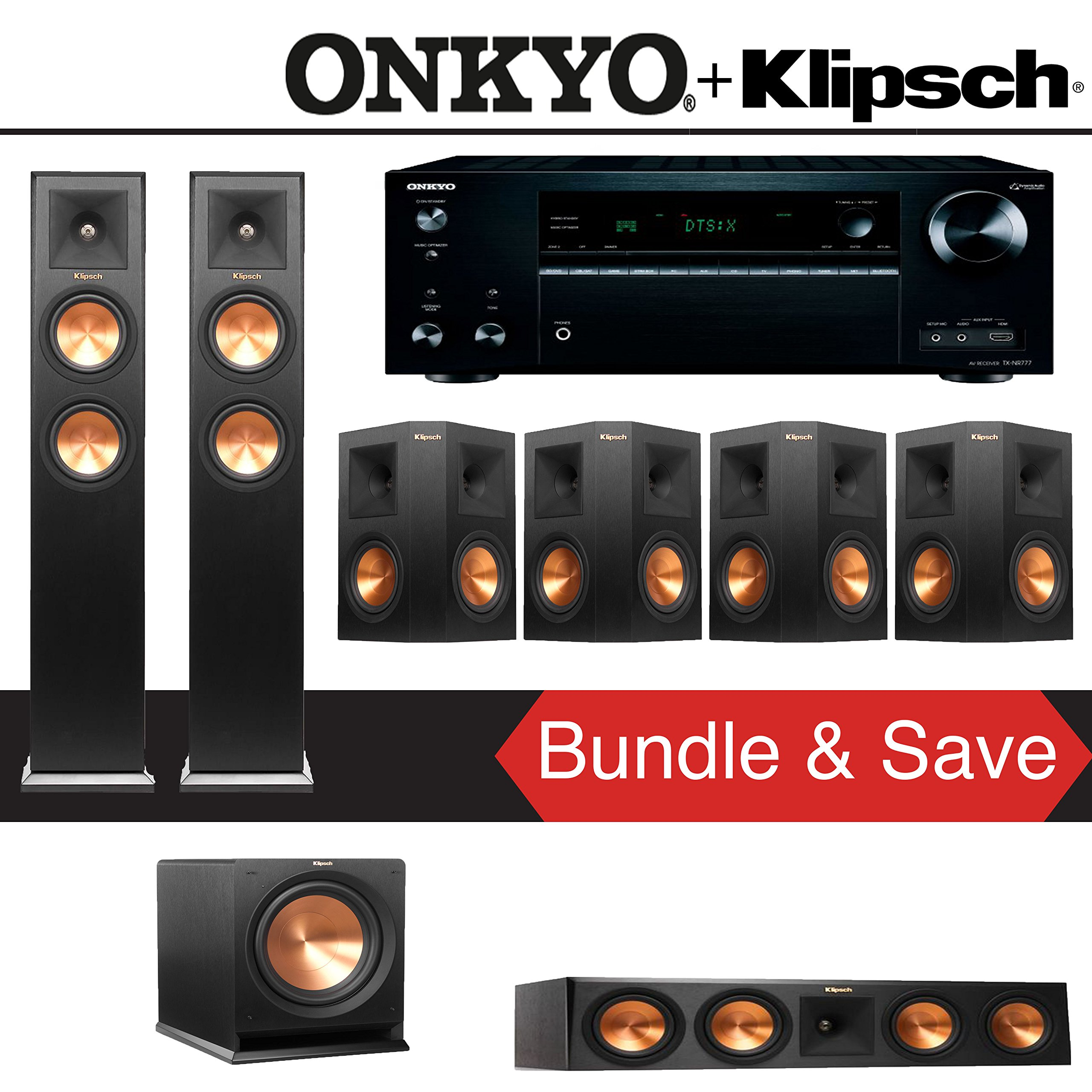 Klipsch RP-250F 7.1-Ch Reference Premiere Home Theater System with Onkyo TX-NR777 7.2-Ch Network AV Receiver by Klipsch