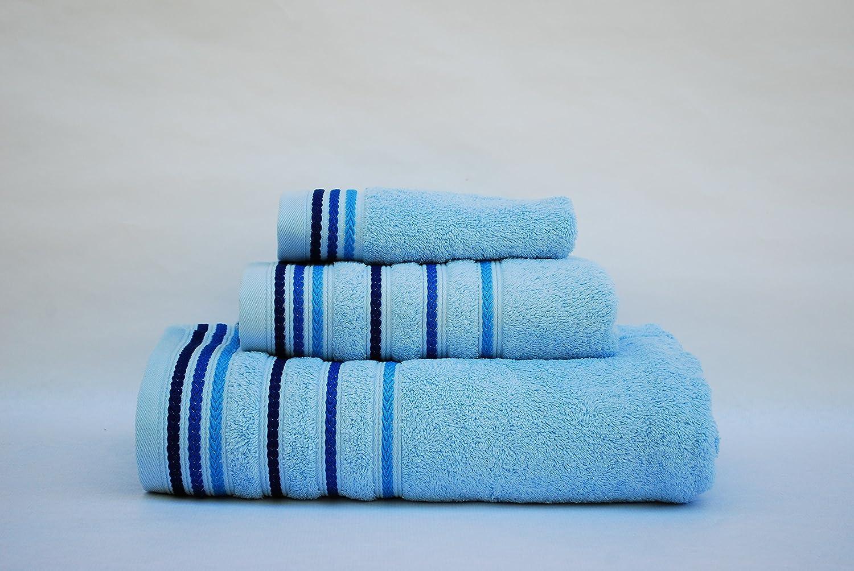 Juego toallas 3 piezas. 100% algodón ALTA CALIDAD. Densidad 520 gr/m2. Cordón CELESTE.: Amazon.es: Hogar