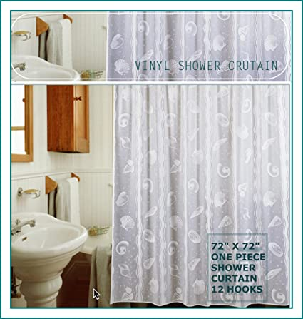 One Piece Vinyl Lace 72quotx72quot Inches Shower Curtain Includes Hooks