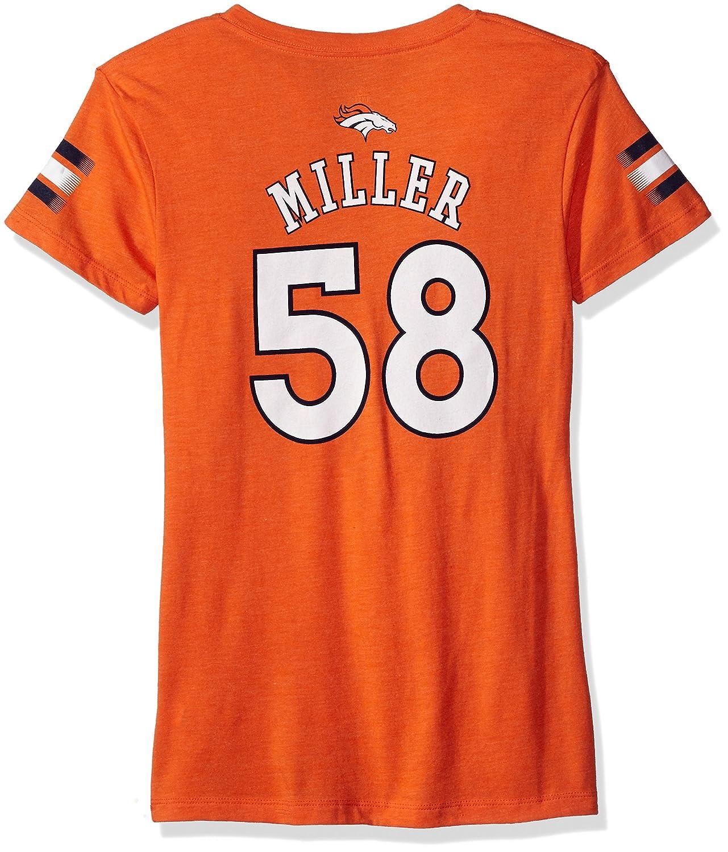 NFL Girls 7 – 16 von miller Denver BroncosメインストライプVネックPlayer Name & Number半袖Tシャツ、大/(14)、オレンジ   B06W9MDNXK