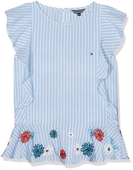 Tommy Hilfiger Quirky Stripe Ruffle Top Slvls, Blusa para Niñas, Azul (Serenity 413