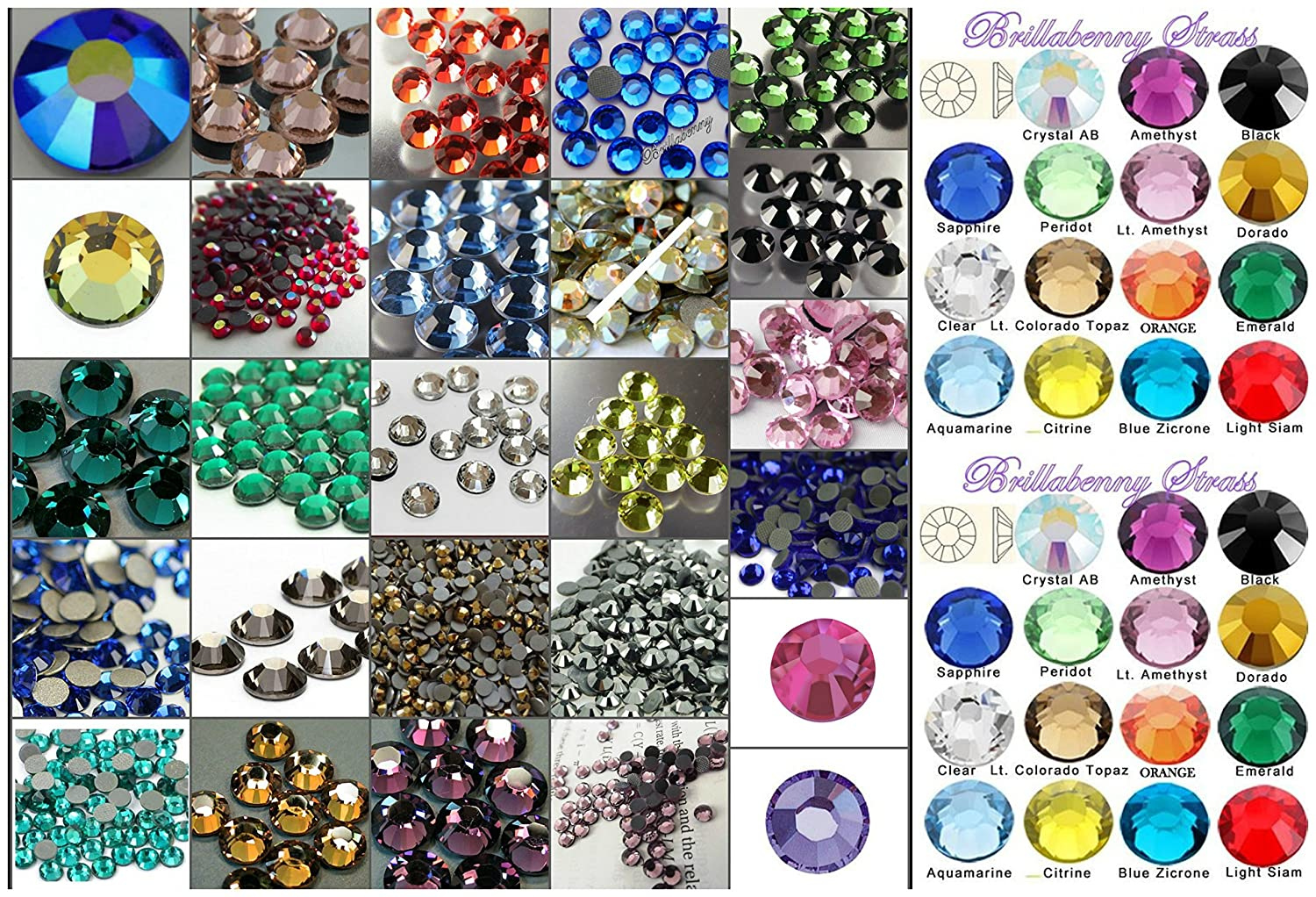 BrillaBenny 1000 Strass TERMOADESIVI HOTFIX SS20 5MM Color Mix Tutti Colori Misti Prima qualità Koreana per Tessuti e Decori Rhinestone Glass Mixed Iron On Flatback Hot Fix 1000COLORMIX5MM