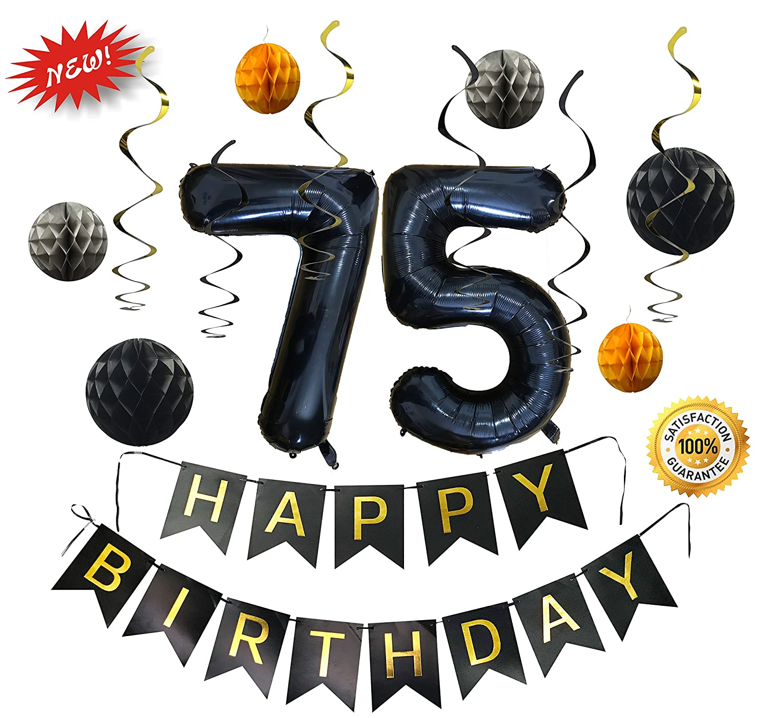 Amazon New Black Happy 75th Birthday Decorations Set By SAMIKA With 6 Honeycombs And Shiny Swirls Large 40 Inch Helium 75 Balloon Foil